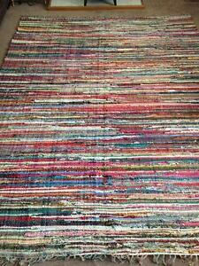 FAIR TRADE RAG RUG HAND LOOMED SHABBY CHIC INDIAN RECYCLED COTTON MULTI COLOURS