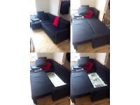 Ikea LUGNVIK double sofa bed with chaise longue in black with 3 black pillows. Excellent condition.