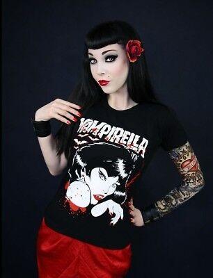 T-Shirt Gothic Vampirella Print Tank-Top Steampunk Punk rave Horror pin up