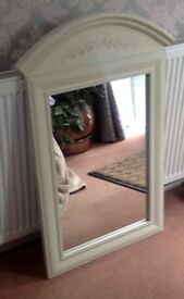 MIRROR CLOTTED CREAM COLOUR COUNTRY STYLE ARCHED TOP