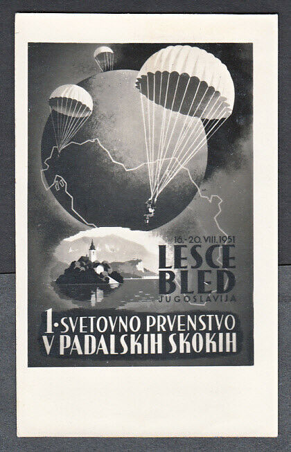YUGOSLAVIA C48 ON PICTURE POSTCARD 1ST WORLD PARACHUTING CHAMPIONSHIP BLED 1951 - $29.95