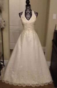 Halter style lace wedding gown