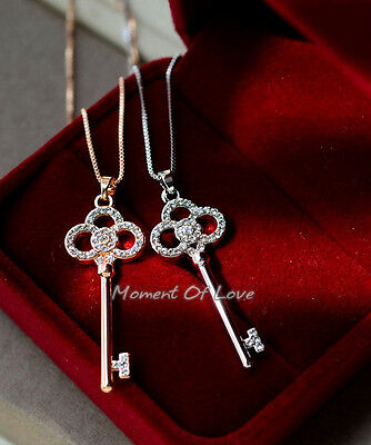 Silver Clover Key Pendant - Flower Lucky Clover Key Rose Gold/Silver GP Cubic Zirconia Pendant Necklace