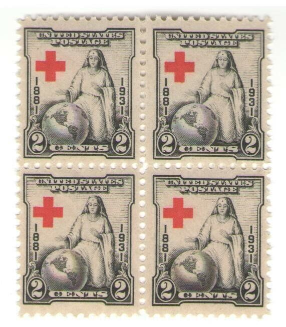 Nurse & American Red Cross Rare 89 Year Old Mint Vintage Stamp Block from 1931