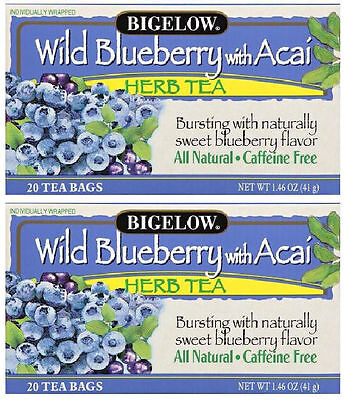 Bigelow: Wild Blueberry with Acai Caffeine Free Herbal Tea (20 Count Box) 2 Pack Bigelow Caffeine Free Tea