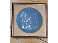 Horse etched on slate