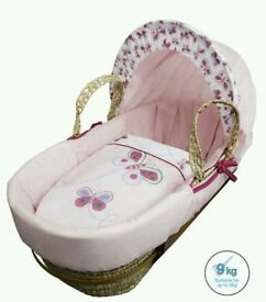 Kinder valley pink Butterfly moses basket. Brand new in sealed packs. 3 left in stock.
