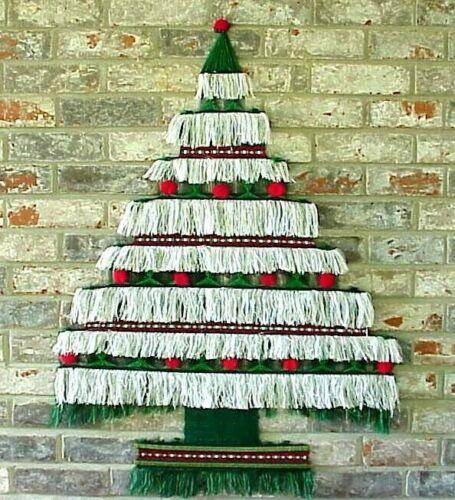 "Vintage Yarn Christmas Tree Wall Hanging Door Decor Hand Woven Fringe 36"" Tall"