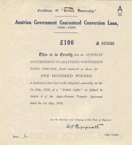 Austrian Government Guaranteed Conversion Loan > 1938 Austria bond certificate