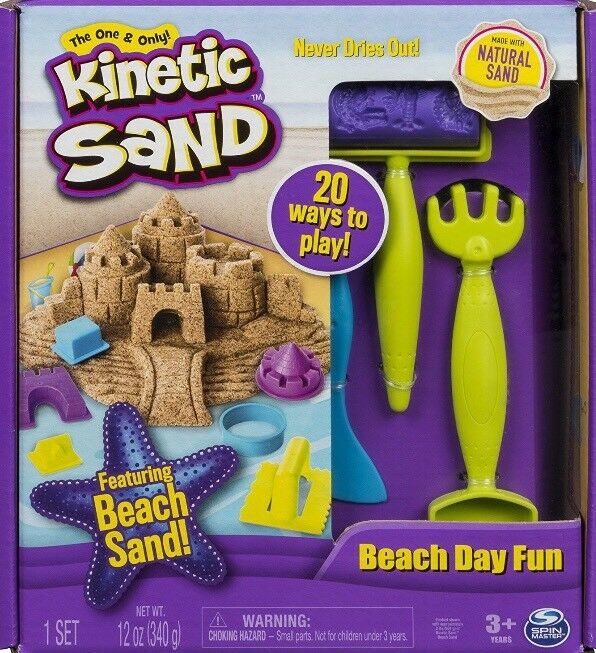 🚛Fast Shipping! {NEW} Kinetic Sand Beach Day Fun Playset With Molds And Tools