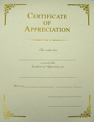 Award Certificate of Appreciation, Elegant Gold Foil Border, Pack of 10](Certificate Of Award)