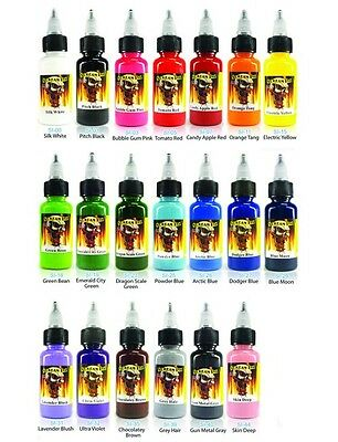 - SCREAM TATTOO INK 20-PACK Color Set 1/2-oz Bottles Black Bright Vibrant Supply