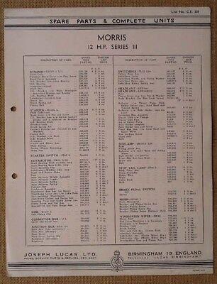 Morris 12hp Series III   Lucas parts list 320