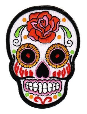 kull Rose Totenkopf Aufnäher Bügelbild Flicken 6,6 x 9,0 cm (Sugar Skull Frau)