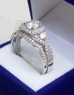 2 Ct Round cut Diamond Engagement Ring Wedding set White Gold Sterling Size 6