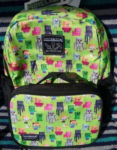MINECRAFT Backpack and Lunch Box Set NeW Canvas Book Bag Detachable Lunchbox NWT
