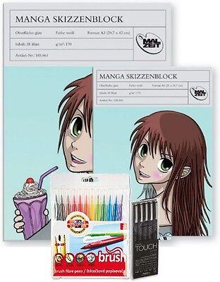 Komplettset Manga zeichnen - Skizzenblock A4+A3 Brush Marker & Touch Liner ()