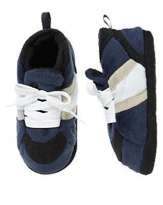 NWT Gymboree Sneaker Slippers Sleepwear Navy Blue Kid Boy NEW Boys 9-10 -