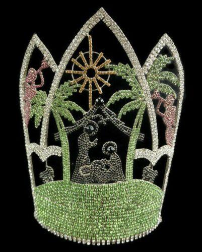 "Beauty Pageant Tiara Crown Jesus Bethlehem Crystal Rhinestone Stunning 10"""