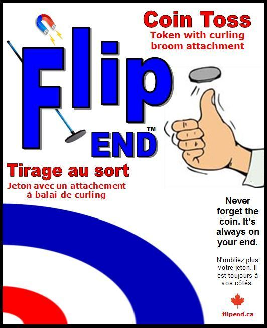 Flip End Curling Coin Toss Broom Cap