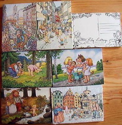 6 Karten Postkarten Trolle Motive Rolf Lidberg Schweden