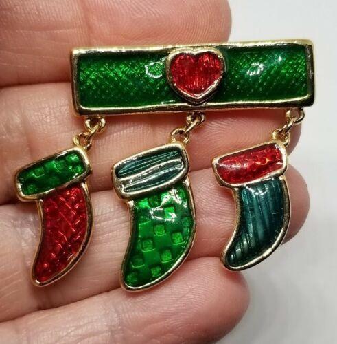 Gold Christmas Pin - Enamel Trio of Stockings