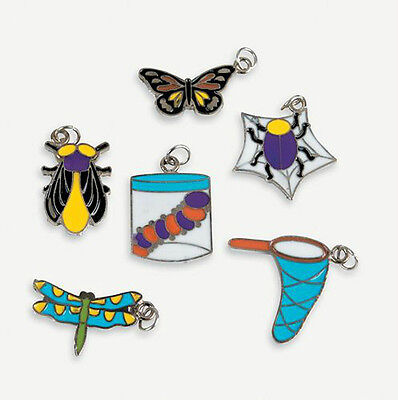 6 Bug Insect Enamel Charms Kids Crafts Butterfly Dragonfly Beetle Fly ABCraft  - Insect Crafts