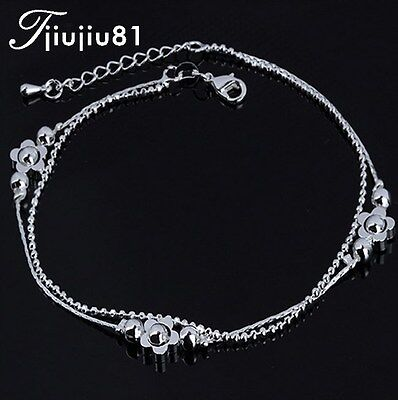 ADJUSTABLE Silver Anklet Bracelet Barefoot Sandal Beach Foot Flower Chain AG