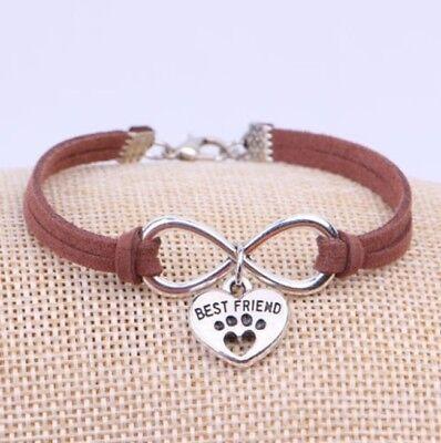 Armband Pfotenabdruck Armkette Tier Hund der beste Freund Pfote Herz Infinity