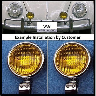VW Fog Lights Halogen 6 Volt With Overrider Brackets