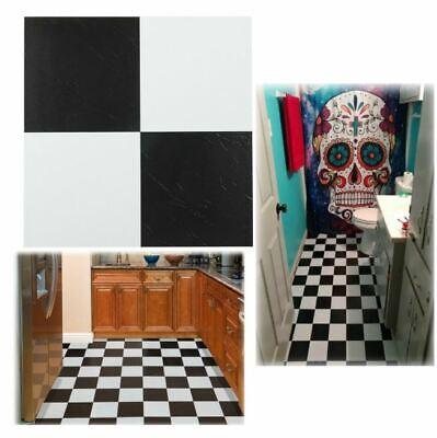 Black And White Vinyl Tiles Peel And Stick Floor Self Adhesive Flooring 20 Pack