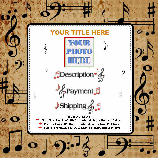 Auction Template Music Notes Border Brown Design Free Shipping
