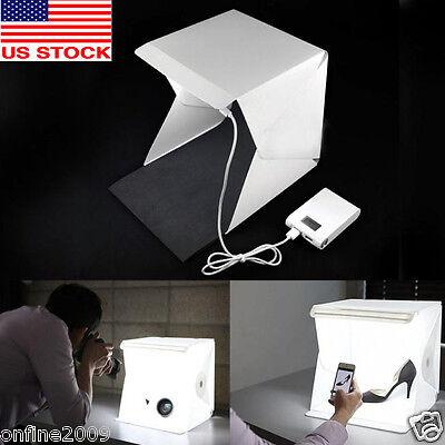 Light Room Photo Studio 9inch Photography Lighting Tent Kit Backdrop Cube Box US