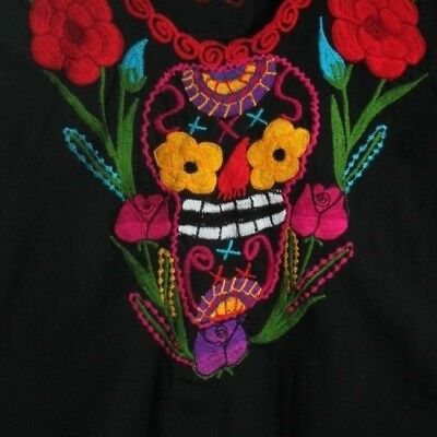 Authentic Mexican Embroidered Cotton Blouse/Top/Clothing Oaxaca Folk Art Black