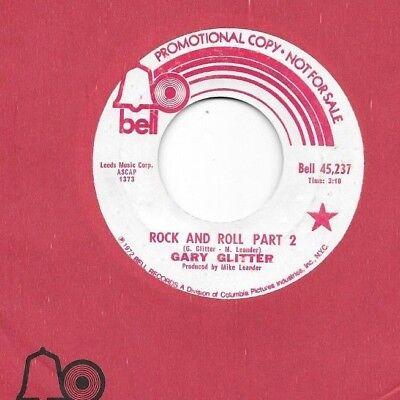 GARY GLITTER * 45 * Rock And Roll Part 2 * 1972 * USA * DJ PROMO * Sports - Rock And Roll Themes