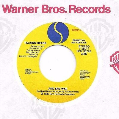 TALKING HEADS * 45 * And She Was * 1985 * DJ PROMO UNPLAYED, one light tiny mark