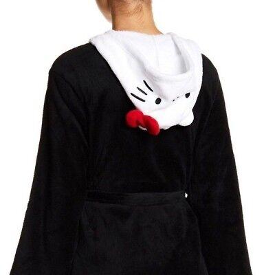 NEW Hello Kitty XL Womens Black Robe with White Hello Kitty Character Hood