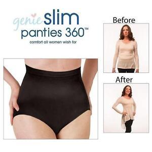 NEW GENIE PANTIES WOMEN'S XL/1X BLACK GENIE SLIM PANTEIS 360 - UNDERWEAR 110087121