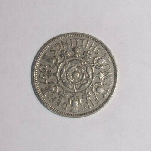1957, Florin Great Britain 90 Degree Die Rotation Very High Value Error Coin