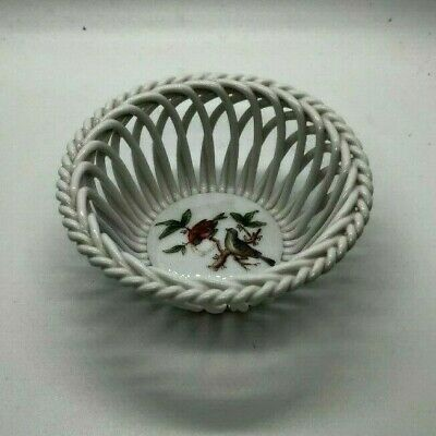 Herend Hungary Porcelain Basket Weave Bowl -  Rothschild Birds - White 3.75""
