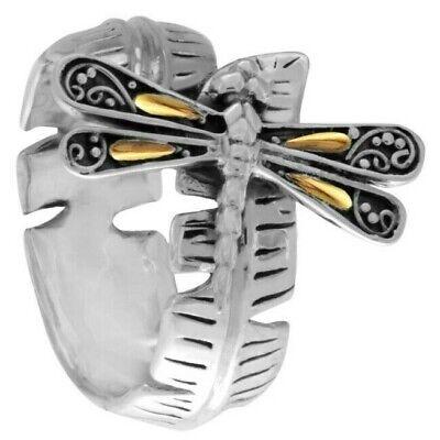Sweet Dragonfly Banana Leaf Sterling Silver 925 Ring 18K Gold SFM8521TT Sterling Silver Banana