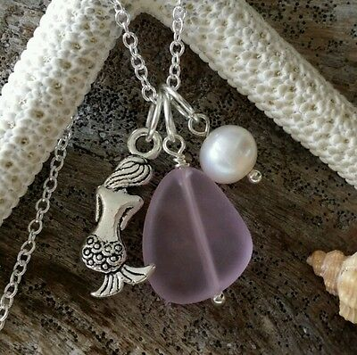 Pink Sea glass necklace,Mermaid charm,Natural pearl,925 Sterling silver chain.