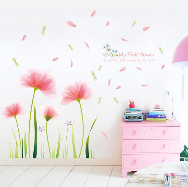 Romantic Pink Garden Flower Wall Sticker Living Room Background Home Decorations Ebay