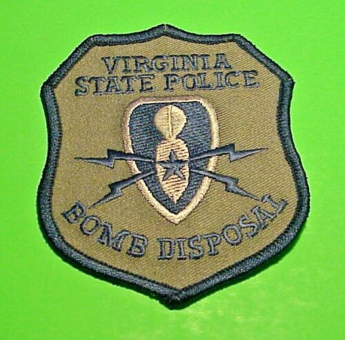 """VIRGINIA STATE POLICE BOMB DISPOSAL 3 1/2"""" POLICE PATCH   FREE SHIPPING!!!"""