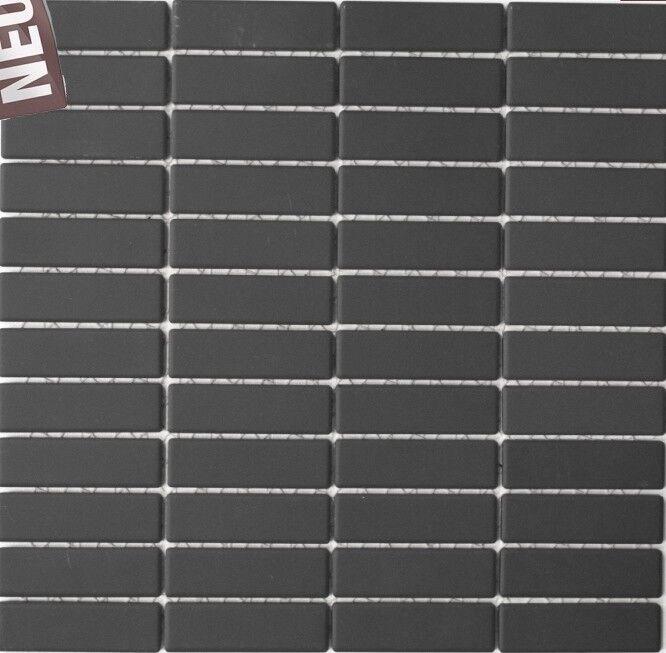 24B-0310-R10/_b 1Mat Mosaik Fliese Stäbchen schwarz unglasiert rutschhemmend Art