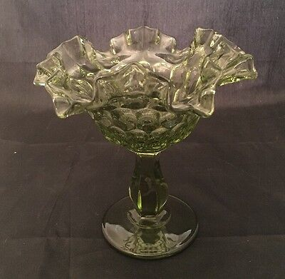 """Vintage Ruffled Candy Compote Dish Pedestal Footed Green 6"""""""