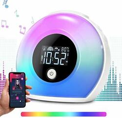 Alarm Clock Bluetooth Speaker Wake Up Change Color Night Light Lamp Music Player