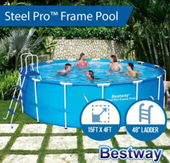 15ft above ground pool with large pump filter