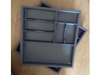 Brand New Kitchen-Cutlery-Organiser-Grey - Drawer-Divider-Storage-Tray