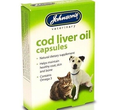 COD LIVER OIL CAPSULES  - (x40) - Johnsons Dog Cat Pet Bird Pigeons bp Coat Skin